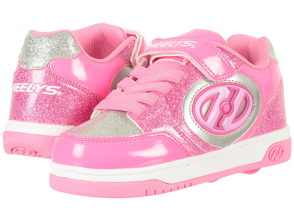 Heelys Plus X2 (Little Kid/Big Kid) (Neon Pink/Light Pink/Silver) Girl's Shoes