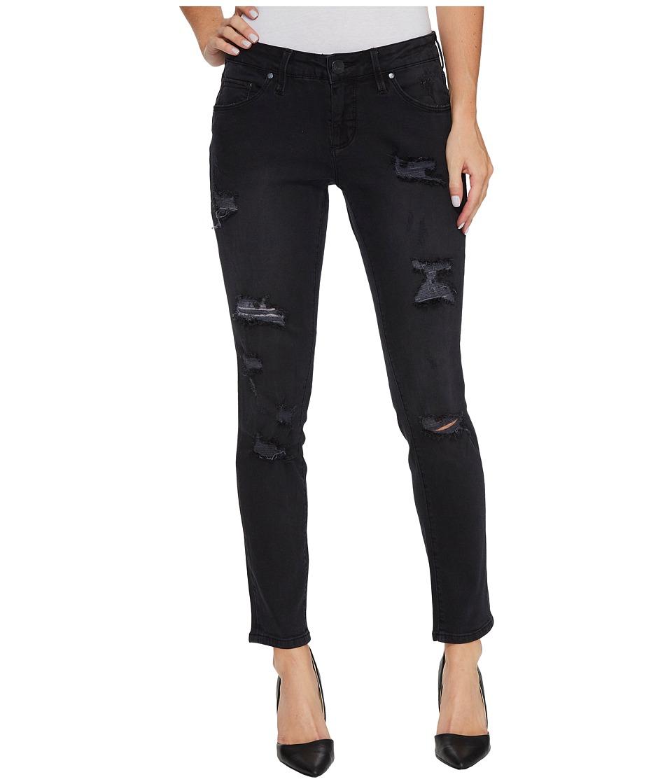 Jag Jeans Mera Skinny Ankle Platinum Denim in Black with Destruction (Black) Women