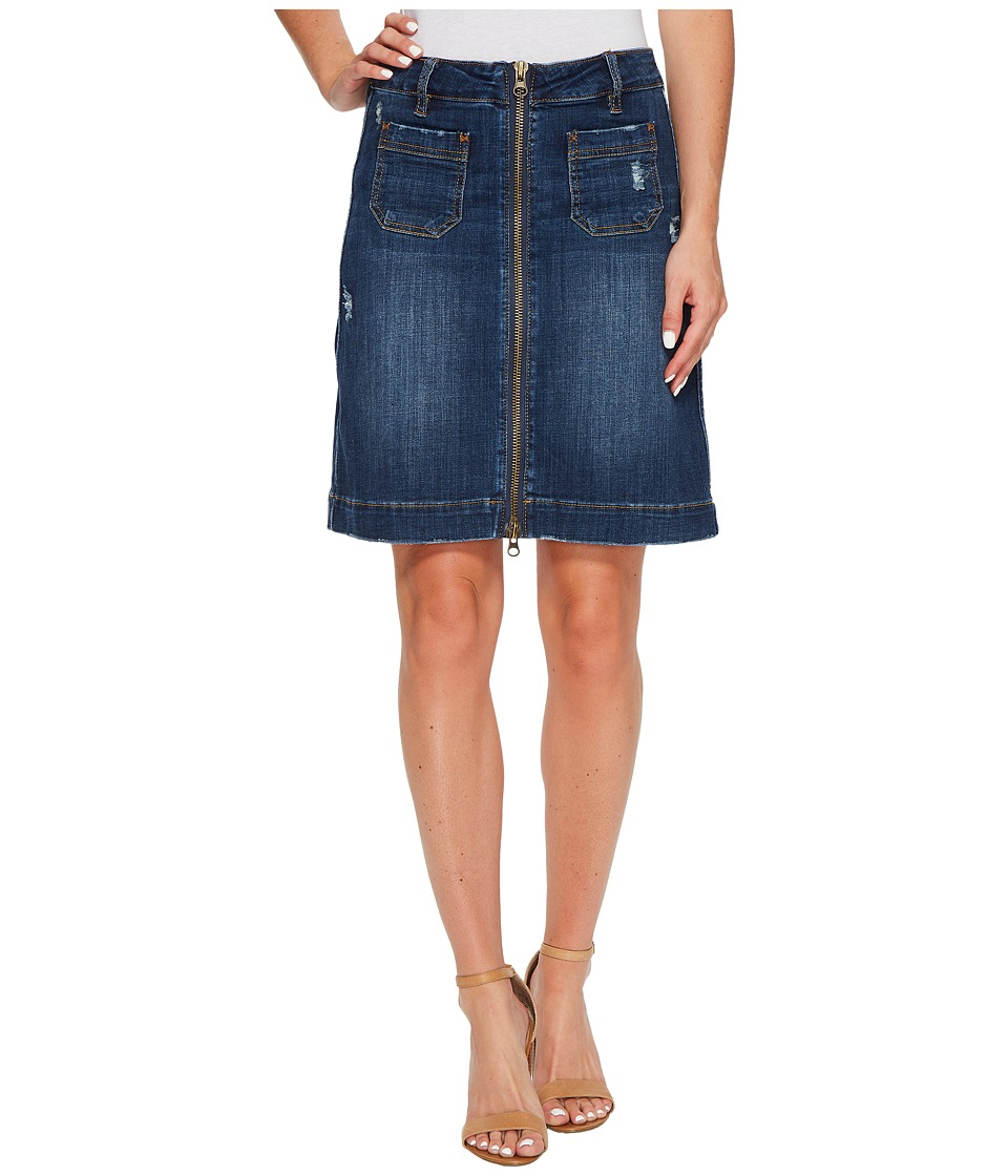 Jag Jeans McCamey Zip Front Crosshatch Denim Skirt in Thorne Blue (Thorne Blue) Women