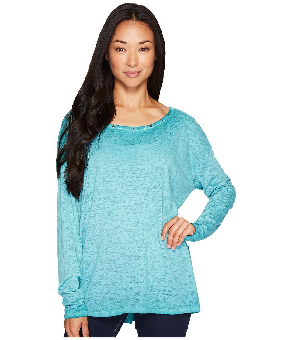 Jag Jeans Aggie Tee with Studs in Burnout Jersey (Jewel) Women