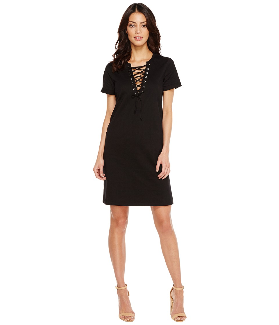 Culture Phit Cameo Short Sleeve Lace-Up Dress (Black) Women