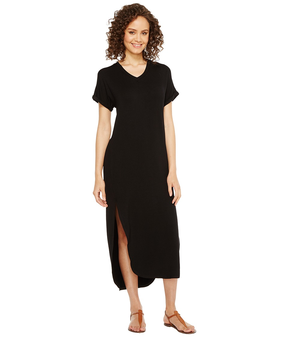 Culture Phit Martine Luxe French Terry Short Sleeve Midi Dress (Black) Women