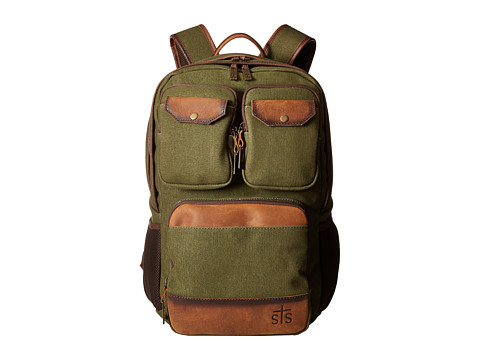 STS Ranchwear The Foreman Military Backpack - Military Green Canvas/Brown Leather