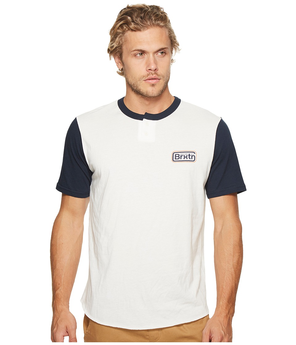 Brixton Springfield Short Sleeve Henley (Off-White/Navy) Men