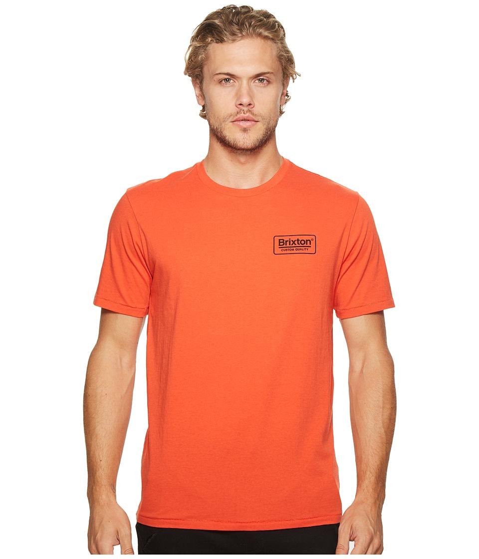 Brixton Palmer Short Sleeve Premium Tee (Orange) Men