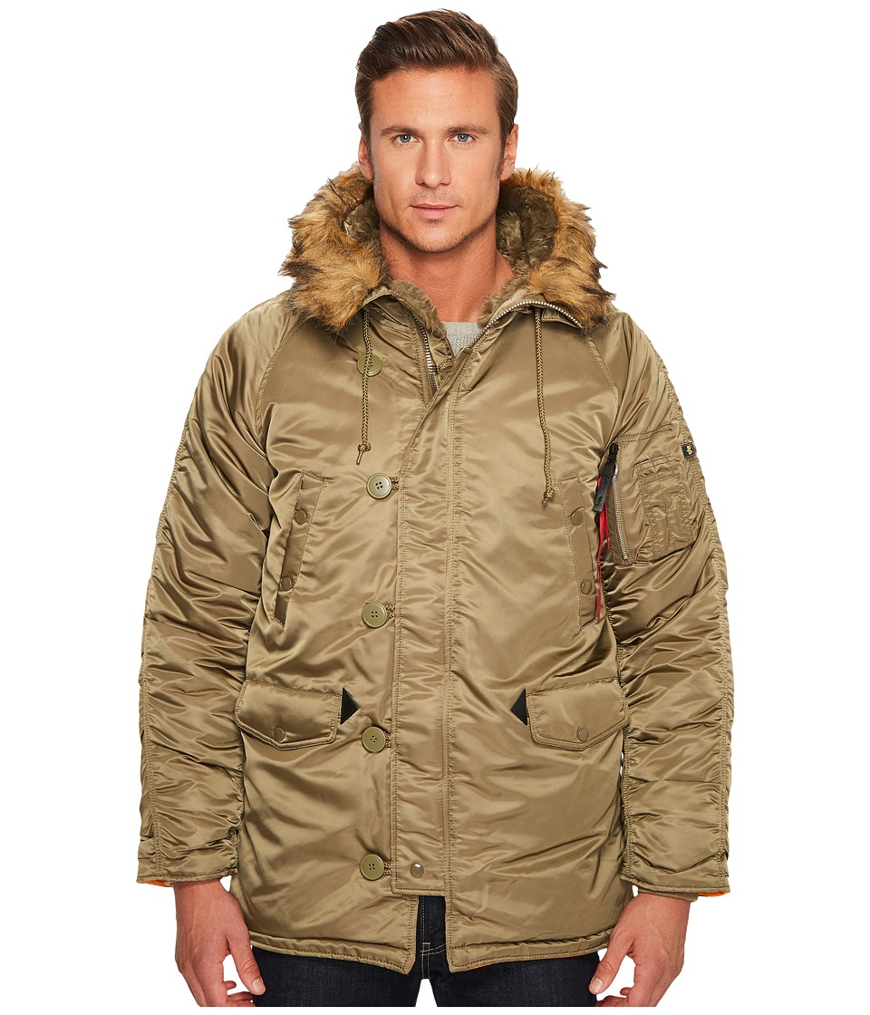 Alpha Industries N-3B Slim Fit Coat (Vintage Olive) Men's...