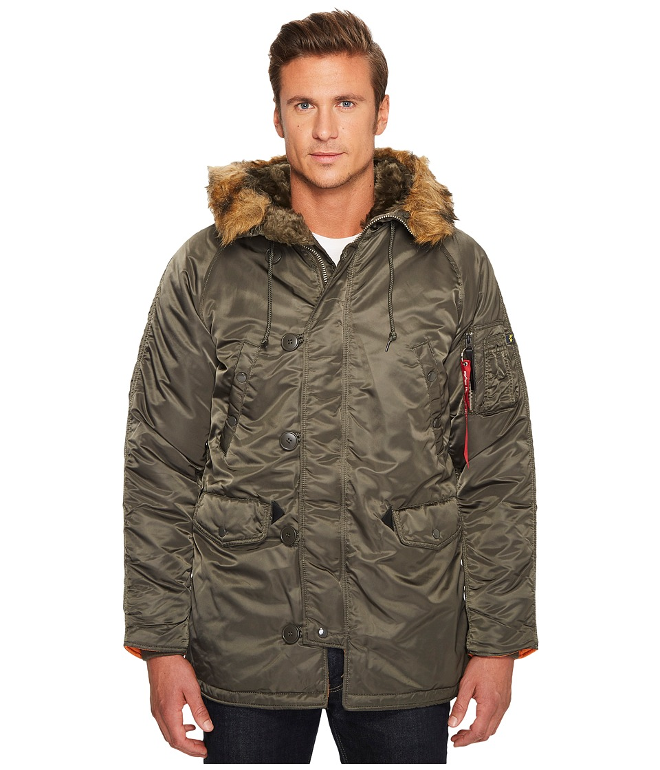 Alpha Industries N-3B Slim Fit Coat (Replica Grey) Men's ...