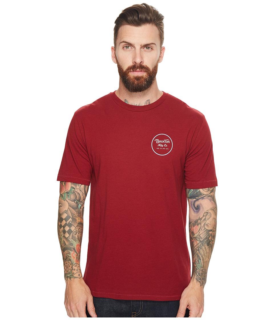 Brixton Wheeler II Short Sleeve Premium Tee (Burgundy/White) Men