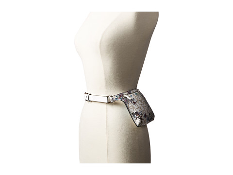 Calvin Klein 20mm Smooth Leather Strap Logo Floral Belt Bag - Natural/Chrome