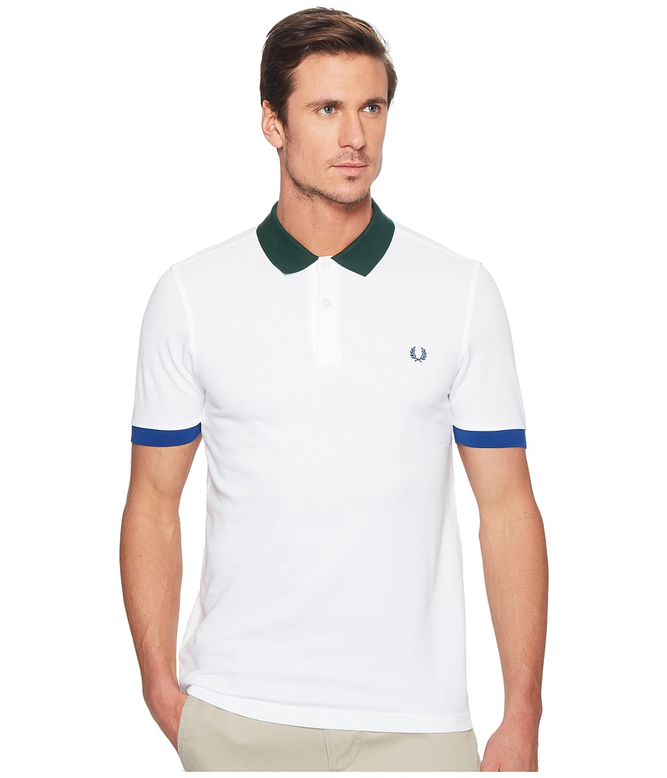 Fred Perry - Colour Block Pique Shirt (White) Men's Clothing