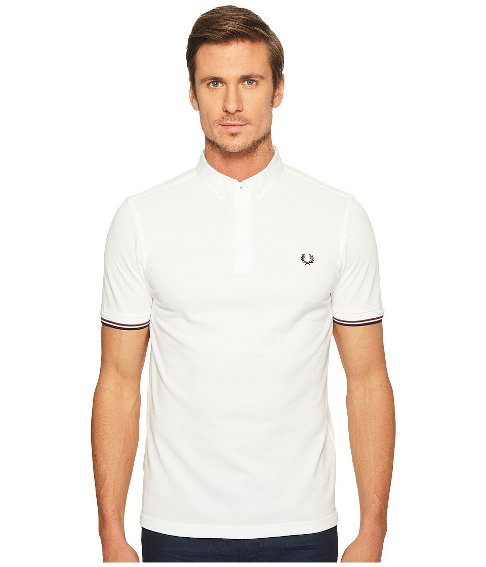 Fred Perry - Woven Collar Pique Shirt (White) Men's Clothing