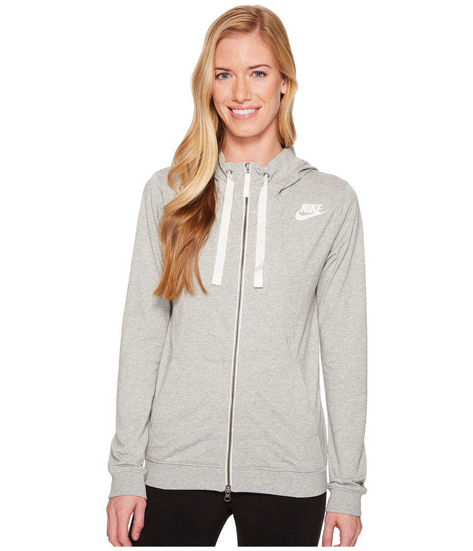 Nike Sportswear Gym Classic Full Zip Hoodie (Dark Grey Heather/Sail) Women