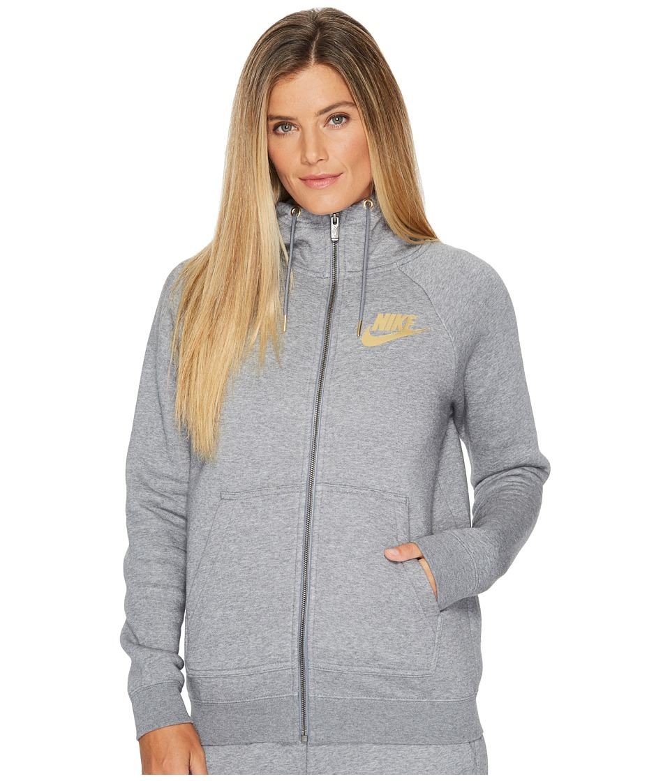 Nike Sportswear Rally Metallic Full-Zip Hoodie (Carbon Heather/Cool Grey) Women