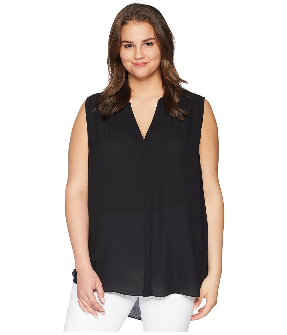 NYDJ Plus Size - Plus Size Sleeveless Pintuck Blouse (Black) Womens Blouse