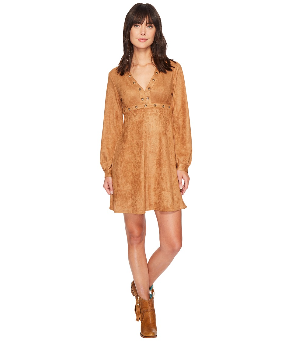 Stetson 1463 Long Sleeve Faux Suede Dress with Grommet (Brown) Women
