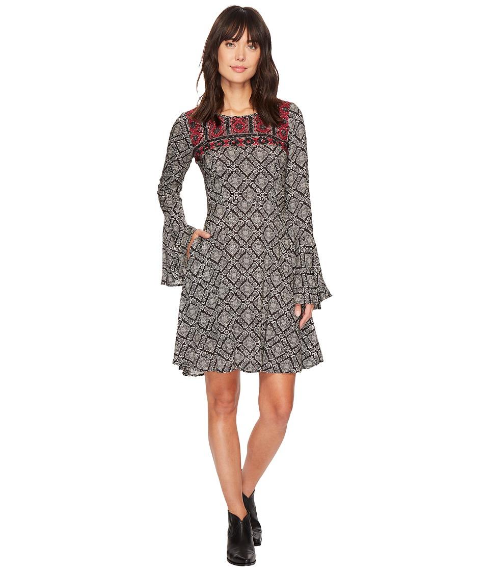 Stetson 1311 Paisley Print Swing Dress (Black) Women