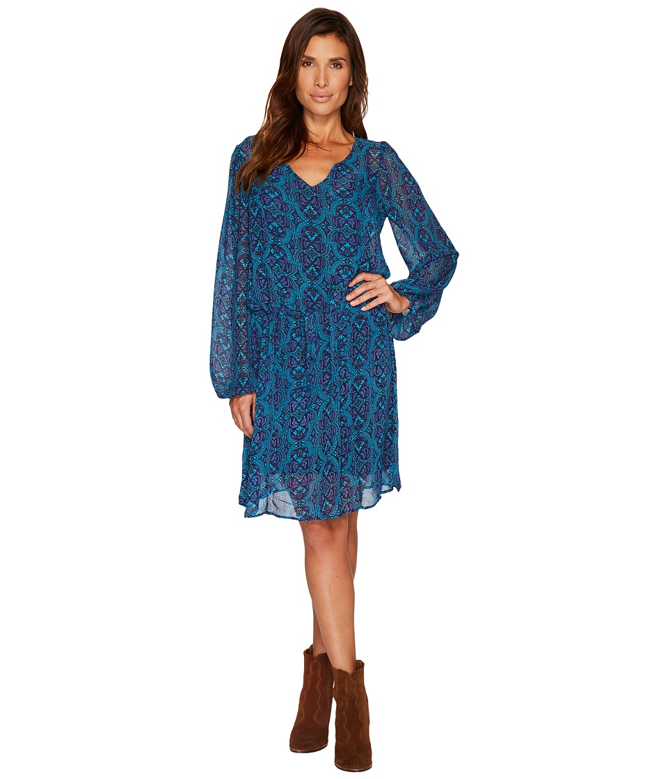 Stetson 1309 Chiffon Print Dress (Blue) Women