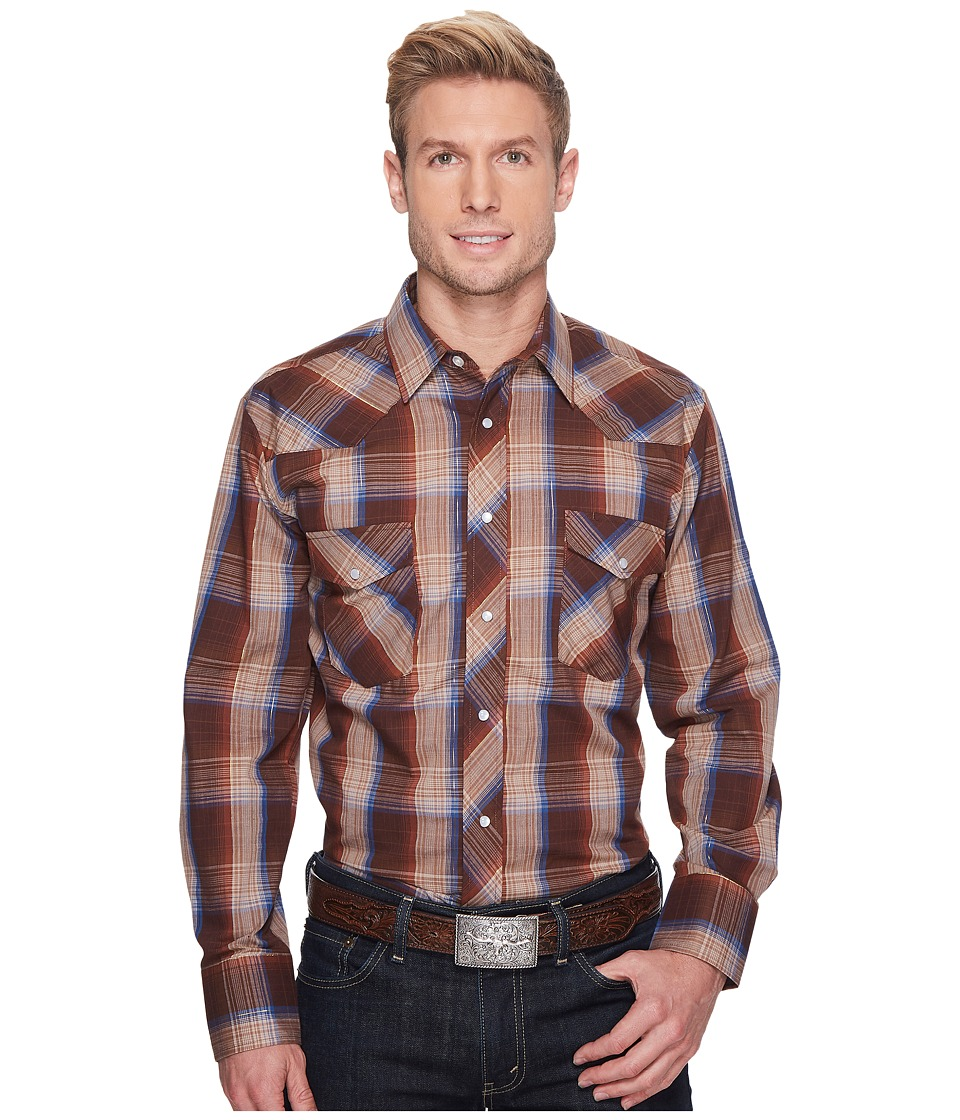 Roper - 1210 Brown, Tan and Blue Plaid