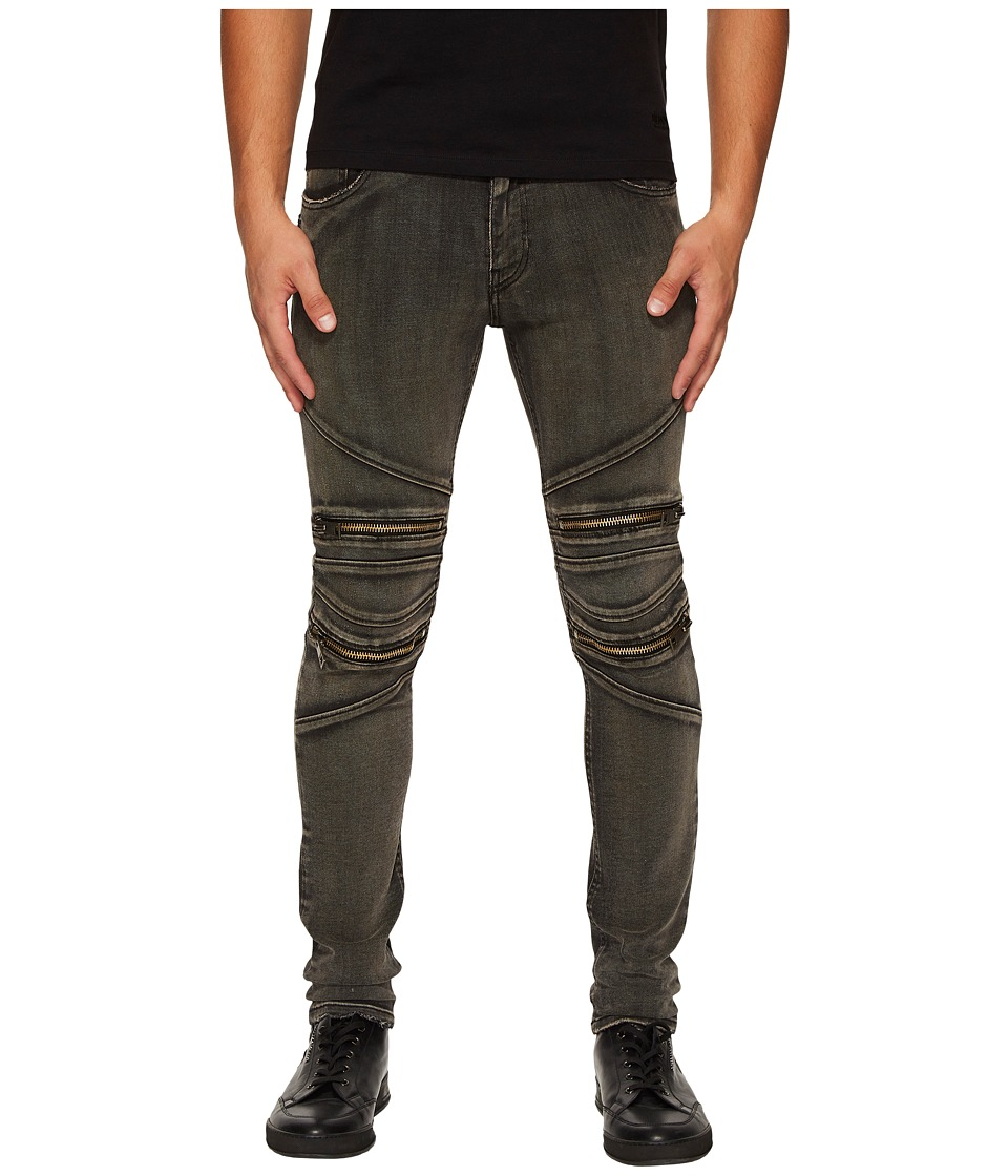Just Cavalli Zippered Moto Jeans (Black) Men