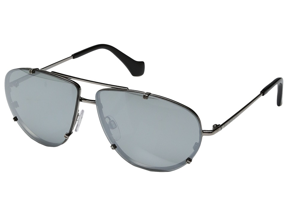 Balenciaga - BA0097 (Light Ruthenium Metal/Black Temple Tip/Smoke Mirror Lenses) Fashion Sunglasses