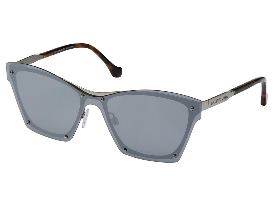 Balenciaga - BA0106 (Shiny Light Ruthenium/Havana/Smoke Silver Mirrored Lenses) Fashion Sunglasses