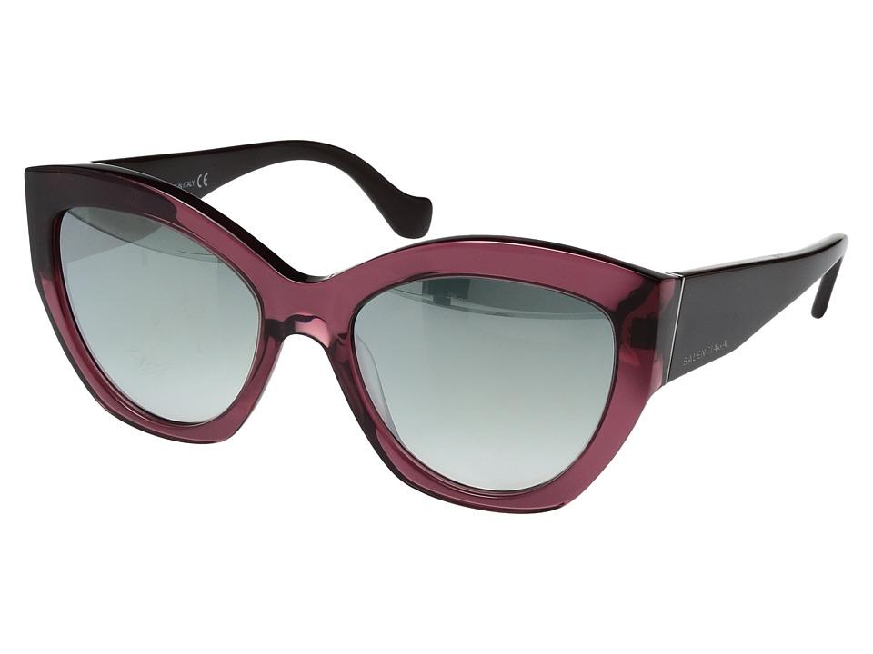 Balenciaga - BA0103 (Transparent Burgundy/Brown Temples/Light Ruthenium Details/Gradi) Fashion Sunglasses