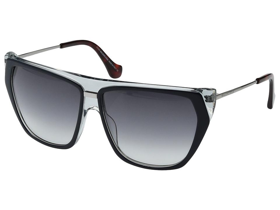 Balenciaga - BA0105 (Blue On Crystal/Red Havana Temple Tips/Light Ruthenium/Gradient) Fashion Sunglasses