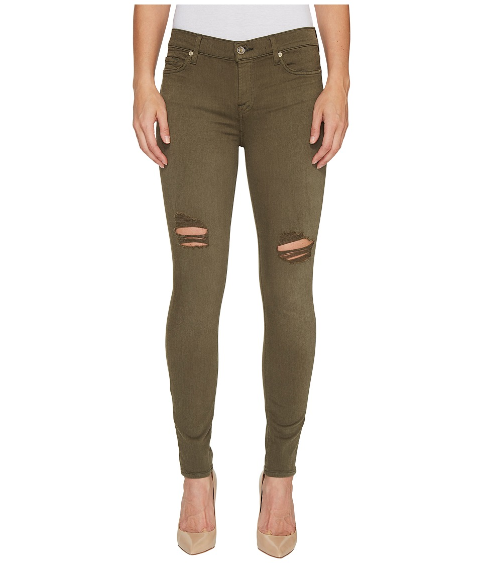 7 For All Mankind - The Ankle Skinny Jeans w/ Destroy in Olive