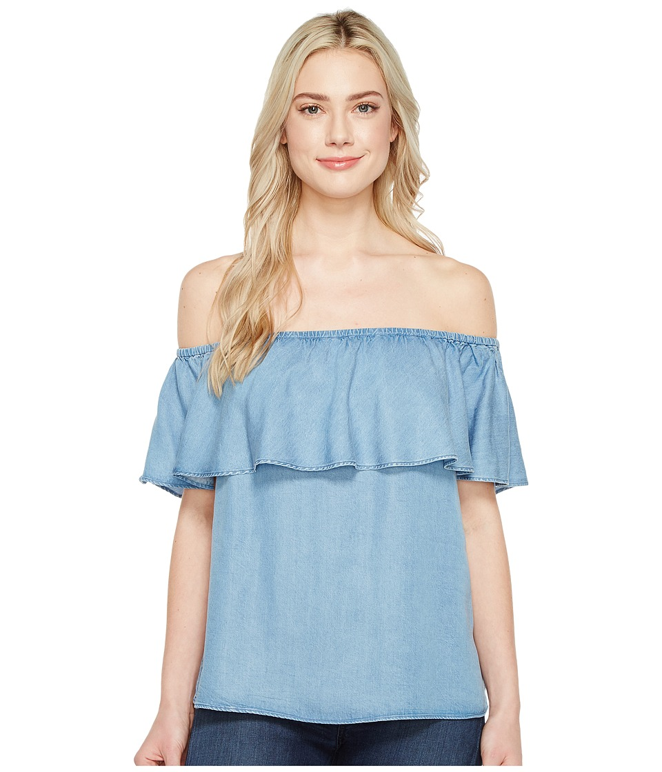 7 For All Mankind 7 For All Mankind - Off Shoulder Ruffled Denim Top