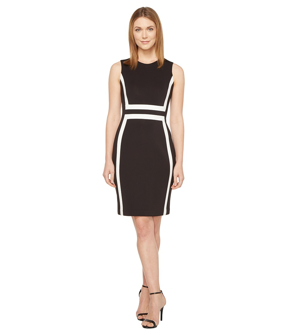 Calvin Klein Color Block Scuba Sheath Dress CD7M1V5K (Black/White) Women