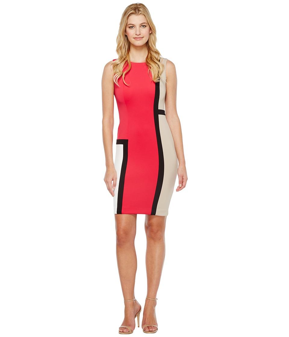Calvin Klein Color Block Sheath Dress CD7M1V8P (Lipstick Multi) Women