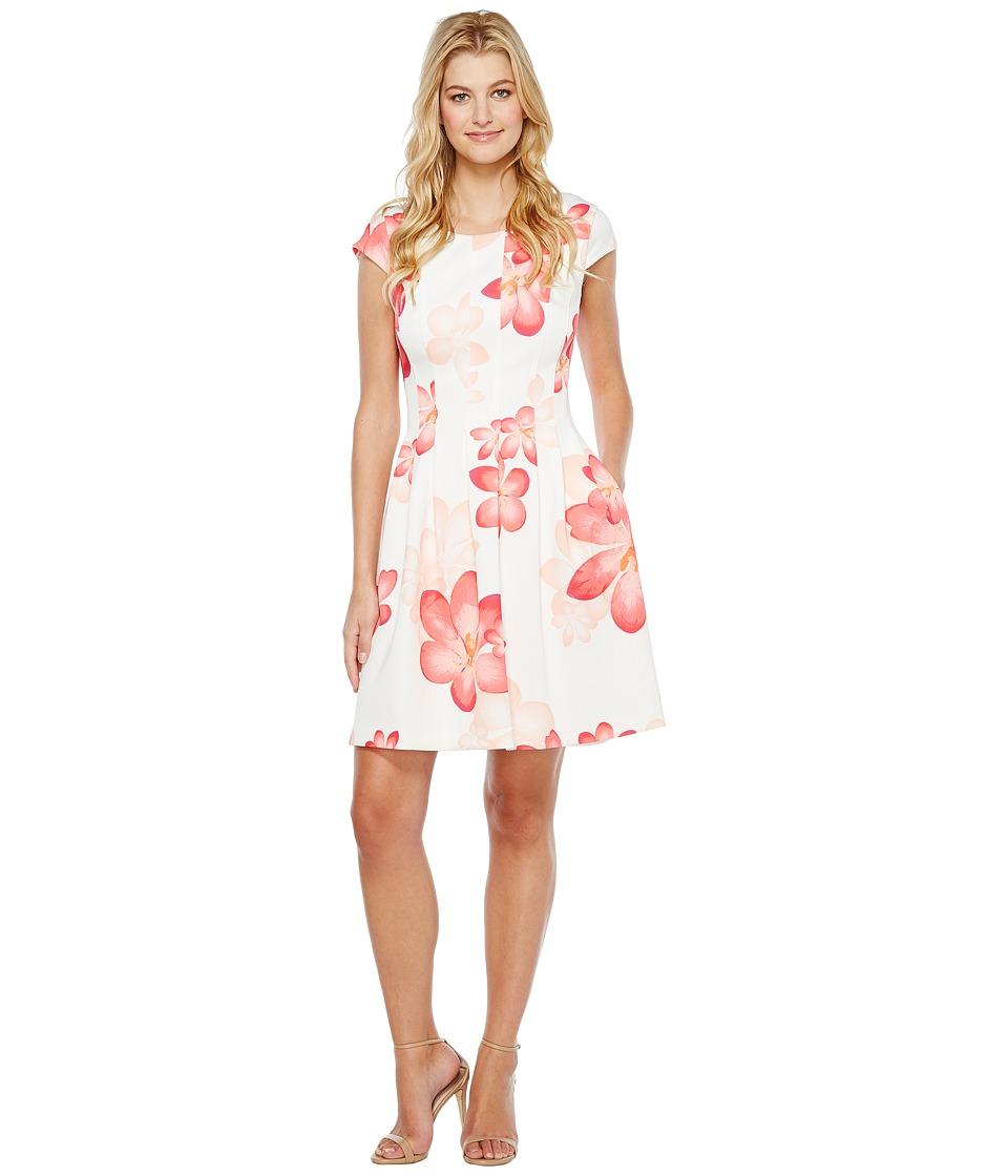 Calvin Klein Cap Sleeve Floral Fit Flare Dress CD7MEA6T (Watermelon Multi) Women