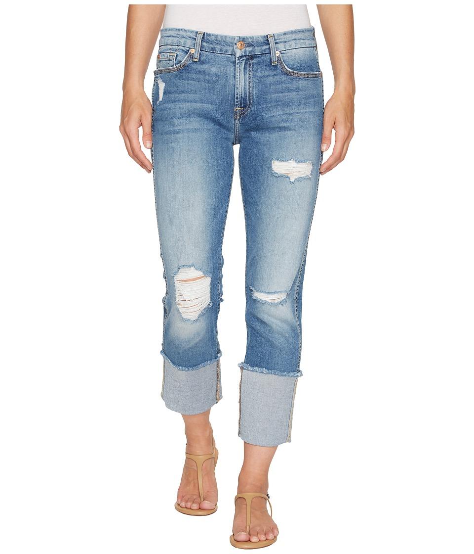7 For All Mankind - Fashion Boyfriend Jeans w/ Wide Raw Cuff Destroy in Vintage Air Classic 3