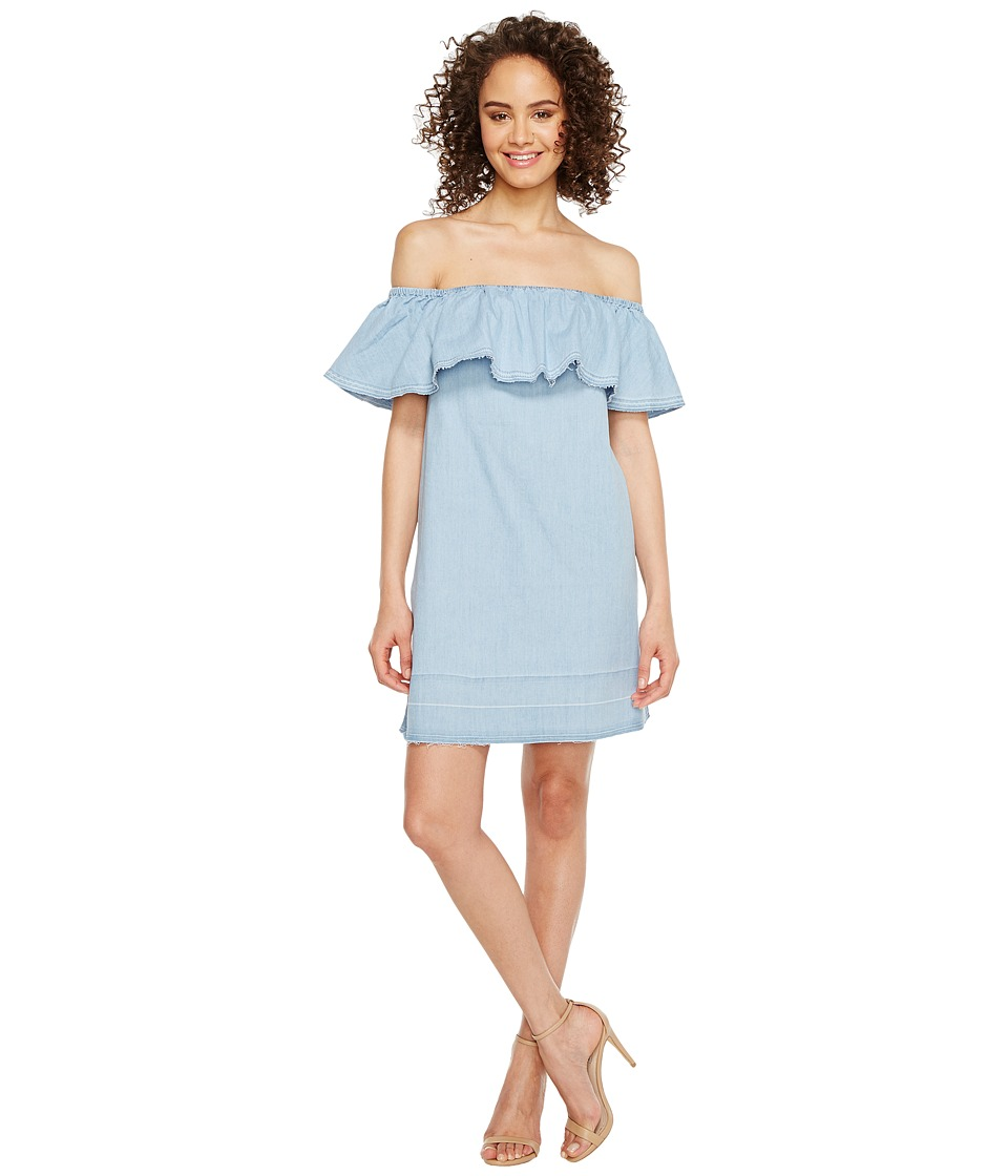 7 For All Mankind 7 For All Mankind - Off the Shoulder Denim Dress w/ Released Hem in Cool Wave Blue