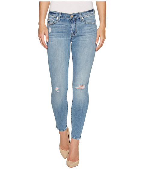 7 For All Mankind Ankle Skinny Jeans w/ Squiggle & Destroy in Willow Ridge 2