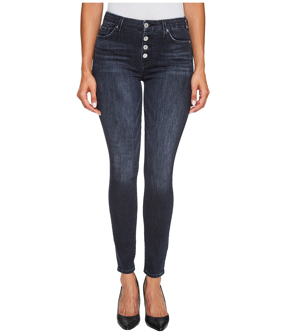 7 For All Mankind The High Waist Ankle Jeans w/ Exposed Button Fly in Authentic Black (Authentic Black) Women