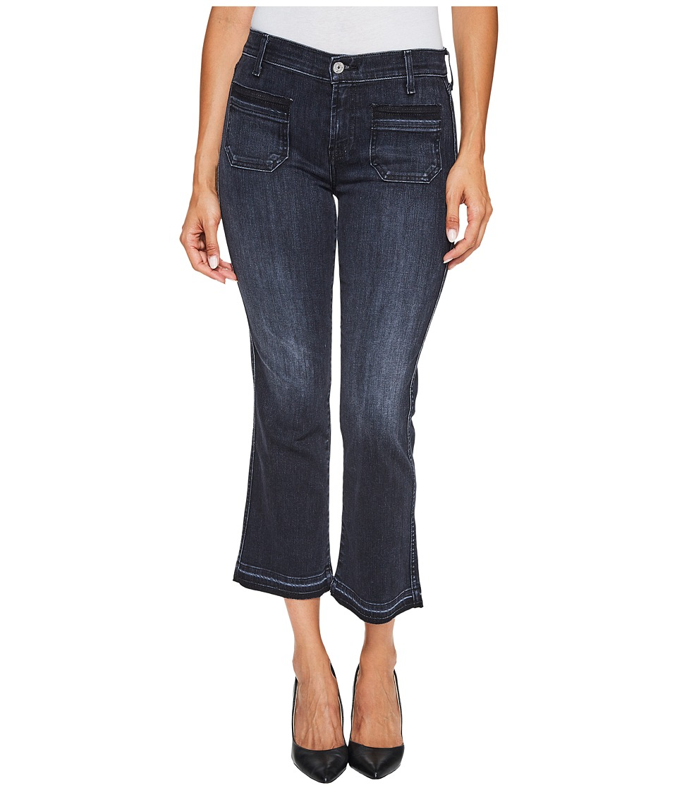 7 For All Mankind - Cropped Boot Jeans w/ Front Released Pockets Released Hem in Authentic Black 2
