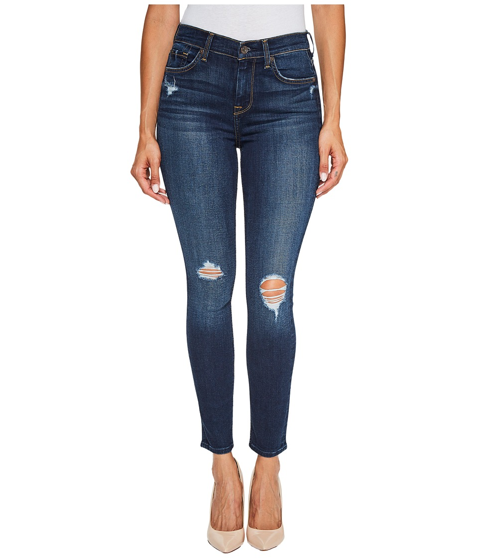 7 For All Mankind - High Waist Ankle Skinny Jeans w/ Squiggle Destroy in Heritage Night