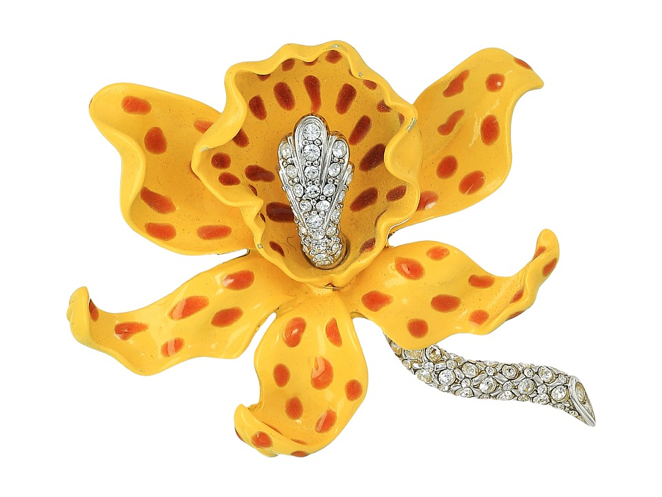 Kenneth Jay Lane Yellow/Brown Spots Orchid Pin (Yellow/Br...
