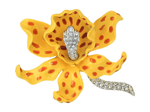 Kenneth Jay Lane Yellow/Brown Spots Orchid Pin - Yellow/Brown