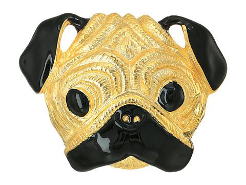 Kenneth Jay Lane Gold/Black Pug Pin - Gold/Black