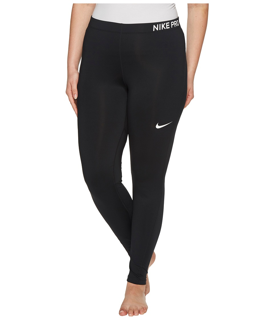 Nike Pro Training Tight (Size 1X-3X) (Black/Black/White) Women