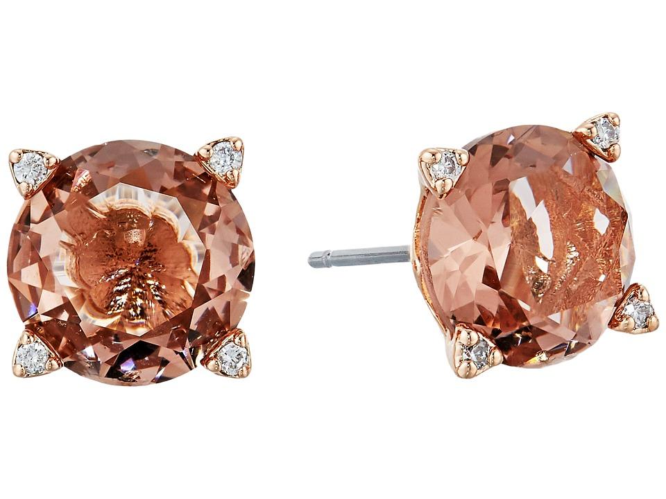 Vera Bradley - Sparkling Stud Earrings (Rose Gold Tone/Pale Peach) Earring