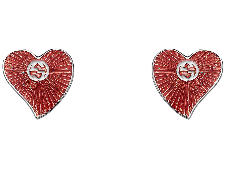 Gucci Enameled Heart Earrings (Silver/Red) Earring