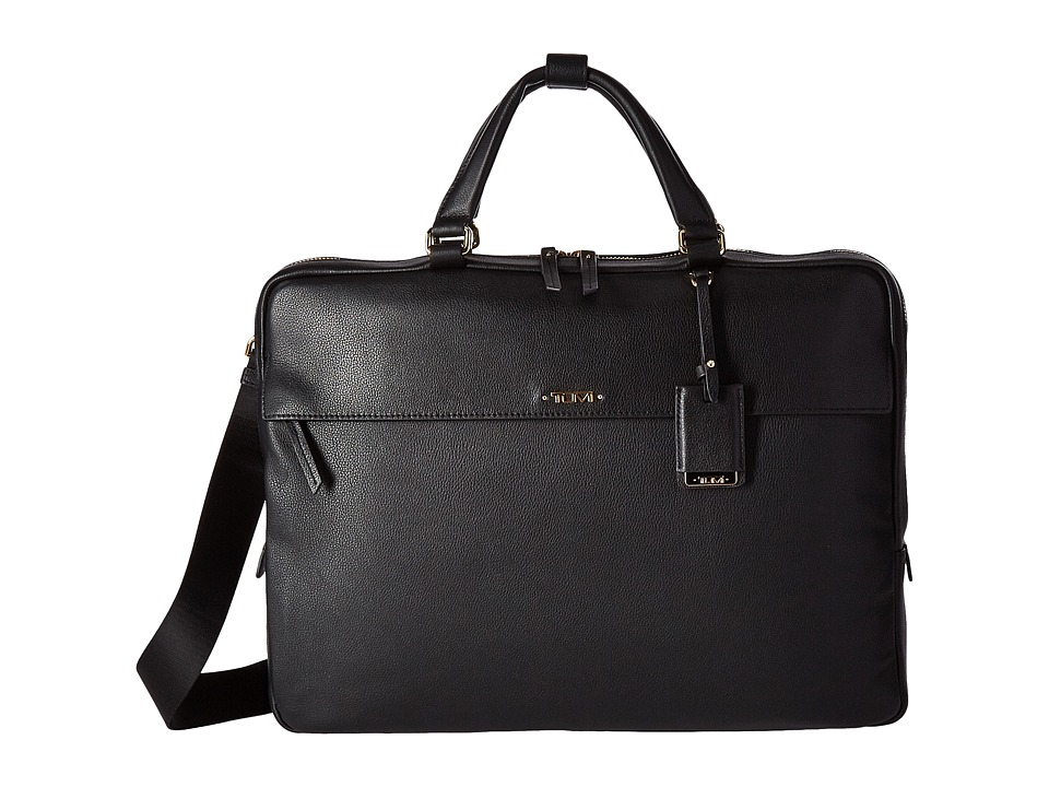 Tumi Voyageur Leather Westport Slim Brief (Black) Briefcase Bags