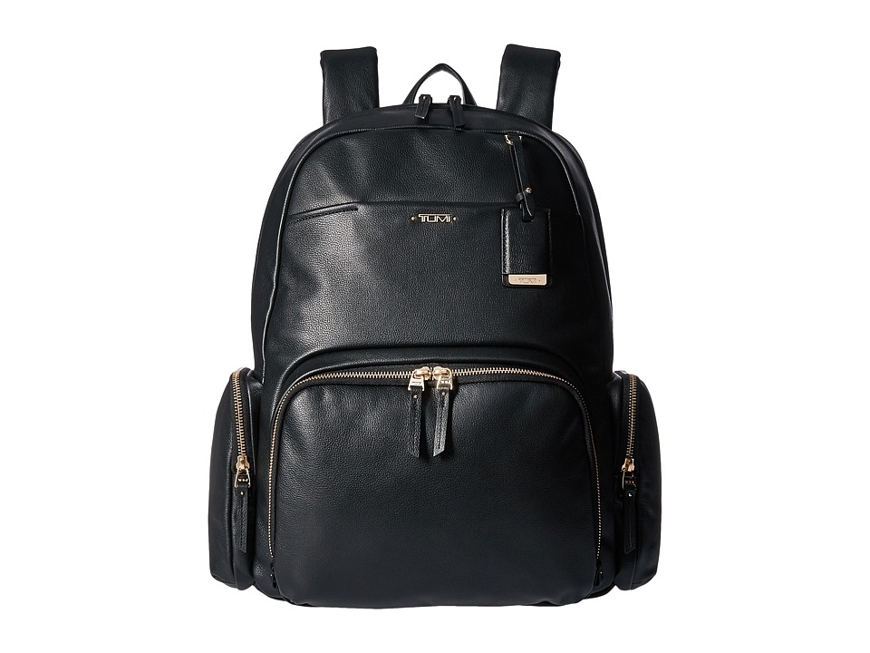 TUMI Voyageur Leather Calais Backpack (Black) Backpack Bags
