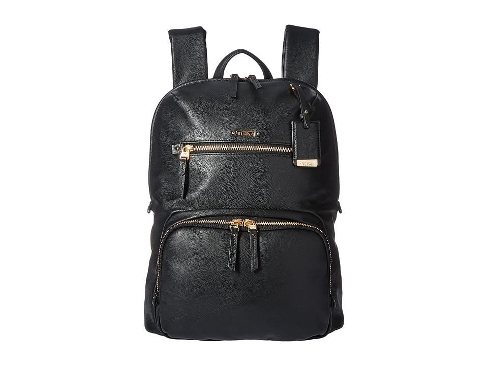 TUMI Voyageur Leather Halle Backpack (Black) Backpack Bags