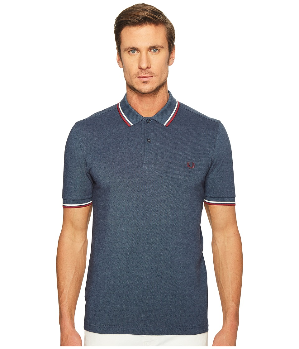 Fred Perry - Twin Tipped Shirt (Lake Carbon Blue Oxford/Snow White/Maroon) Men's Short Sleeve Knit