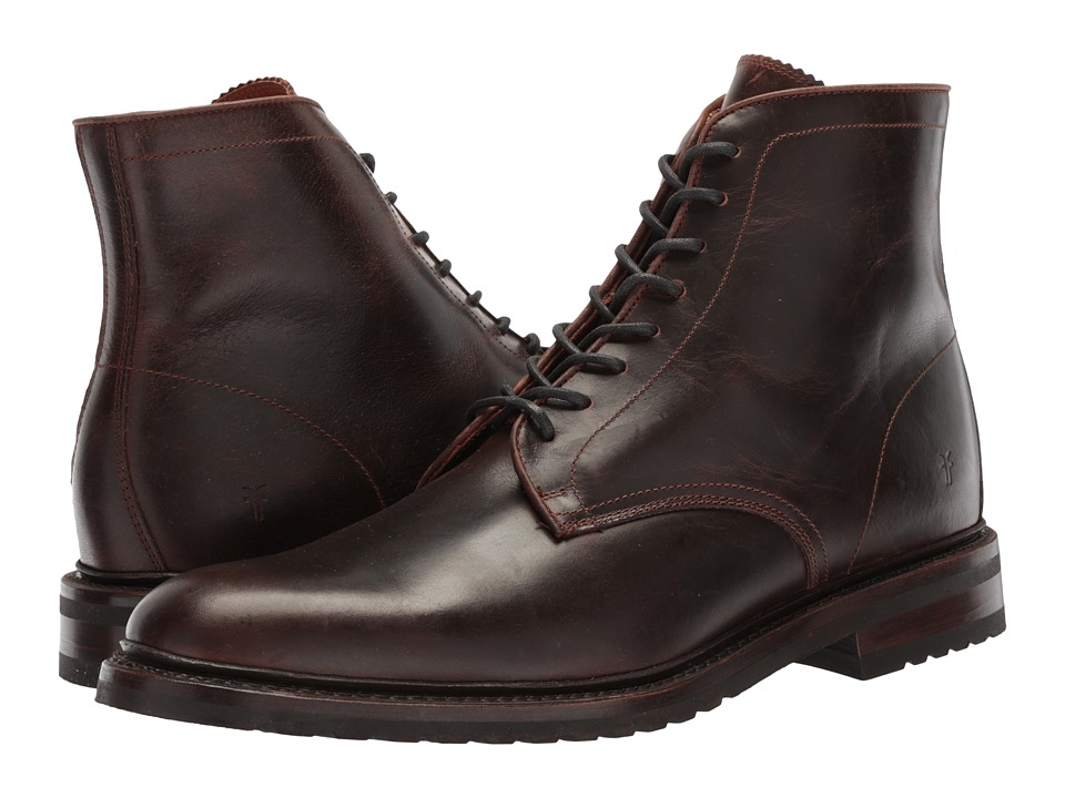 Frye Jones Lace-Up (Dark Brown Waterproof Smooth Pull Up) Men