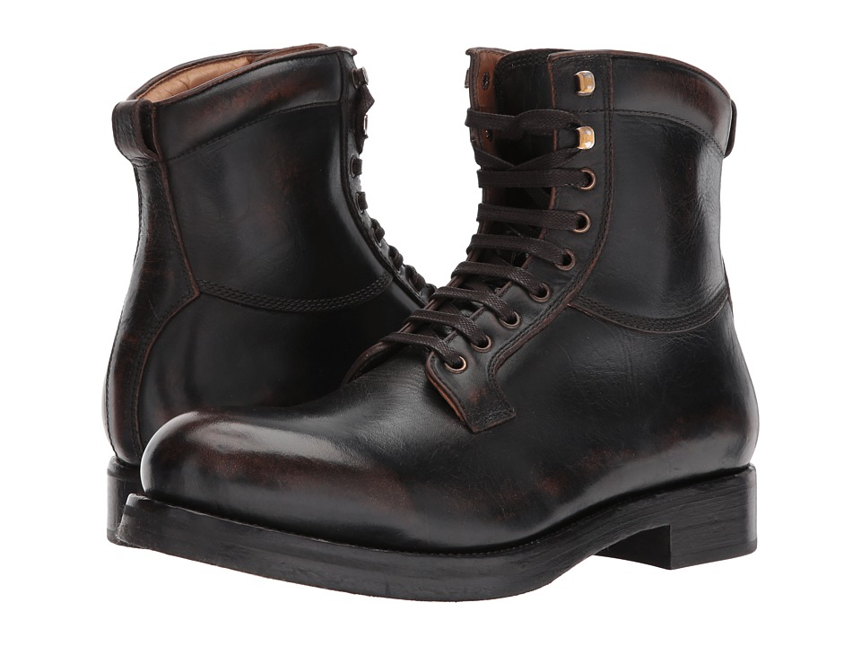 Frye Carter Lace-Up (Black/Brown Veg Tan Brush-off) Men